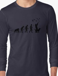 Duck Hunting Evolution Of Man Funny Silhouette Long Sleeve T-Shirt
