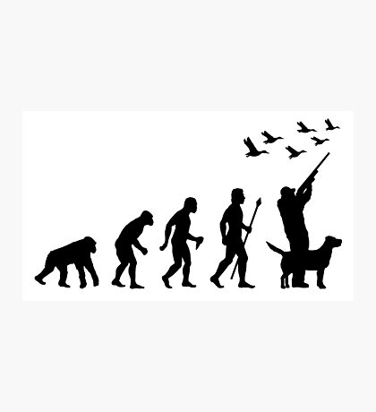 Duck Hunting Evolution Of Man Funny Silhouette Photographic Print