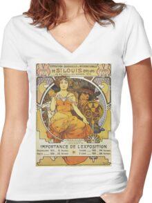 Alphonse Mucha - Exposition Universelle  Internationale De St Louis Women's Fitted V-Neck T-Shirt