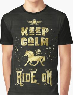 Keep Calm and Ride On Gold Horse Typography Graphic T-Shirt