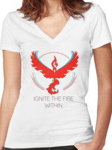 Team Valor - Ignite The Fire Women's Fitted V-Neck T-Shirt
