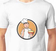 Asian Chef Noodle Bowl Circle Cartoon Unisex T-Shirt