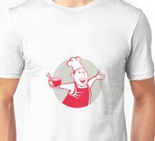 Asian Chef Serving Noodle Bowl Dancing Circle Cartoon Unisex T-Shirt