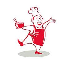 Asian Chef Serving Noodle Bowl Dancing Cartoon Photographic Print