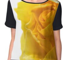 Closeup of Yellow Rose on White Chiffon Top