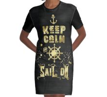 Keep Calm and Sail On Gold Helm Anchor Typography Graphic T-Shirt Dress