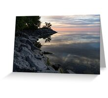 On the Rocks - Silky Colorful Lakeside Morning Greeting Card