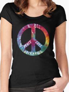 Peace, Love, Rock N' Roll Women's Fitted Scoop T-Shirt