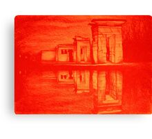 Temple of Debod, Madrid, reflected in the water, colorful drawing illustration. Canvas Print