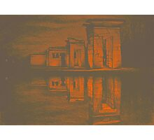 Temple of Debod, Madrid, reflected in the water, colorful drawing illustration. Photographic Print