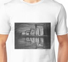 Temple of Debod, Madrid, reflected in the water, drawing illustration. Unisex T-Shirt