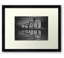 Temple of Debod, Madrid, reflected in the water, drawing illustration. Framed Print