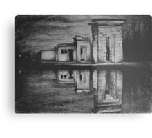 Temple of Debod, Madrid, reflected in the water, drawing illustration. Metal Print