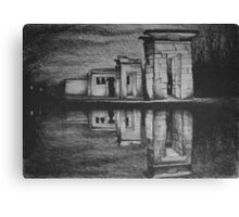 Temple of Debod, Madrid, reflected in the water, drawing illustration. Canvas Print