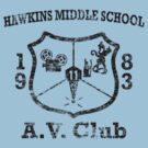 Hawkins Middle School AV Club - Black Weathered by Smidge the Crab