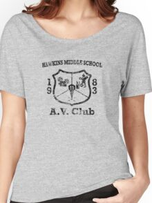 Hawkins Middle School AV Club - Black Weathered Women's Relaxed Fit T-Shirt