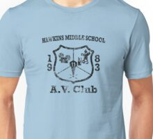 Hawkins Middle School AV Club - Black Weathered Unisex T-Shirt
