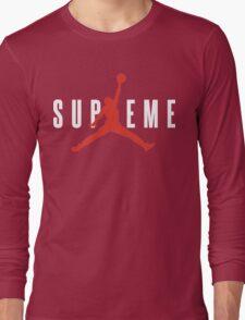 Supreme x Jordan Collab White Text fotr Black Clothing Long Sleeve T-Shirt