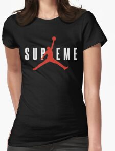Supreme x Jordan Collab White Text fotr Black Clothing Womens Fitted T-Shirt