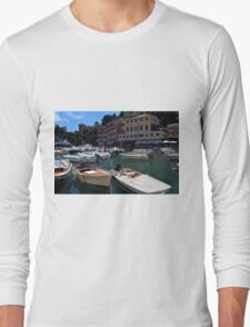 6 August 2016. Photography of the beautiful Portofino fishing village in Italy. View on small bay and colorful houses at town of Portofino in Liguria, Italy. Long Sleeve T-Shirt