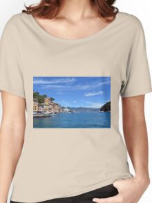 6 August 2016. Photography of the beautiful Portofino fishing village in Italy. View on small bay and colorful houses at town of Portofino in Liguria, Italy. Women's Relaxed Fit T-Shirt