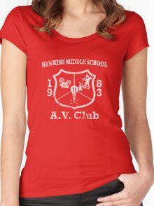 Hawkins Middle School AV Club - White Weathered Women's Fitted Scoop T-Shirt