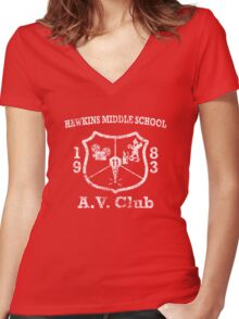 Hawkins Middle School AV Club - White Weathered Women's Fitted V-Neck T-Shirt