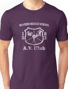 Hawkins Middle School AV Club - White Weathered Unisex T-Shirt