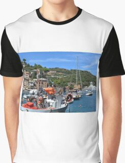 6 August 2016. Photography of the beautiful Portofino fishing village in Italy. View on small bay and colorful houses at town of Portofino in Liguria, Italy. Graphic T-Shirt