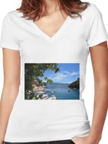 6 August 2016. Photography of the beautiful Portofino fishing village in Italy. View on small bay and colorful houses at town of Portofino in Liguria, Italy. Women's Fitted V-Neck T-Shirt