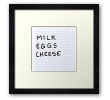 milk eggs cheese Framed Print