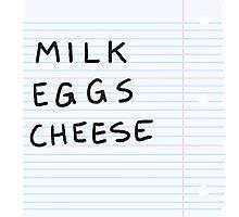 milk eggs cheese Photographic Print