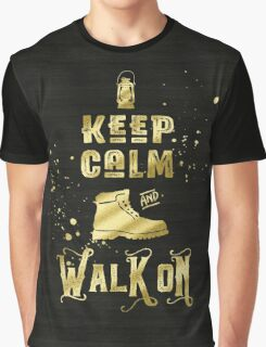 Keep Calm and Walk On Gold Hiking Boot Typography Graphic T-Shirt