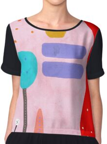 Red and Pink Happy Abstract Landscape Chiffon Top