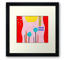 Red and Pink Happy Abstract Landscape Framed Print