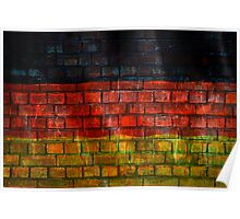 German flag painted on old brick wall Poster