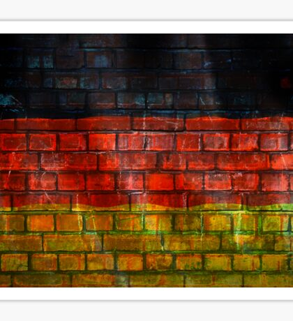 German flag painted on old brick wall Sticker