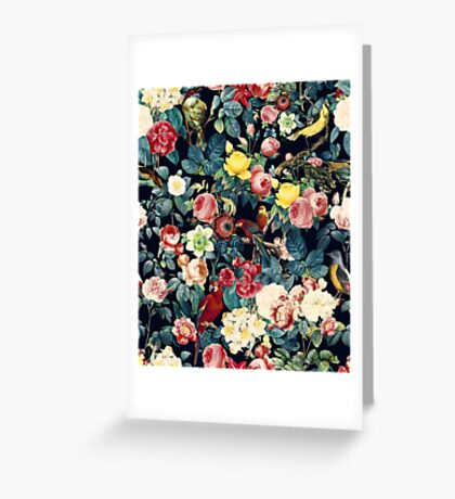 Floral and Birds Pattern Greeting Card