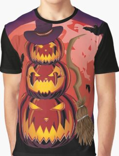 Pumpkins and Red Moon Graphic T-Shirt