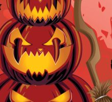 Pumpkins and Red Moon Sticker