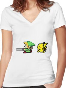 Link and Pikachu Women's Fitted V-Neck T-Shirt