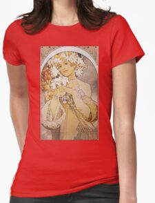 Alphonse Mucha - La Fleurflowers Womens Fitted T-Shirt