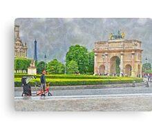 The Arc de Triomphe du Carrousel outside of the Louvre Metal Print
