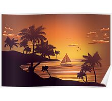 Tropical Island at Sunset 4 Poster