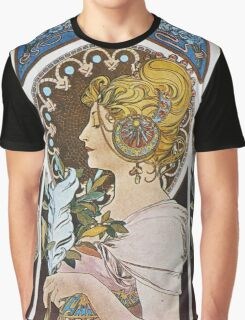 Alphonse Mucha - La Plumethe Pen Graphic T-Shirt