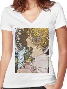 Alphonse Mucha - La Plumethe Pen Women's Fitted V-Neck T-Shirt