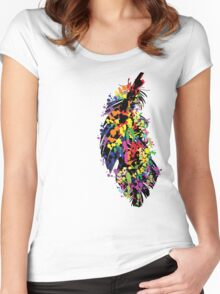 Colorful feather Women's Fitted Scoop T-Shirt