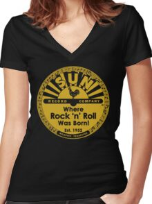 Sun Records : Where Rock N' Roll Was Born Women's Fitted V-Neck T-Shirt