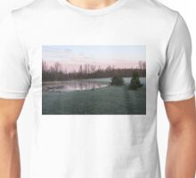 Frosty Morning - Quiet Pinks and Greens at the Pond Unisex T-Shirt