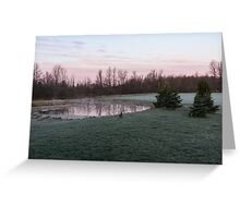 Frosty Morning - Quiet Pinks and Greens at the Pond Greeting Card